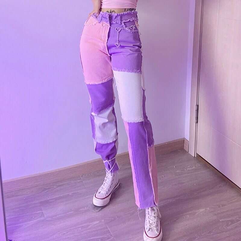 2020 New hip hop autumn Blue/Pink patchwork Jeans women High waist Hip hop straight Jeans ladies trousers female denim for woman