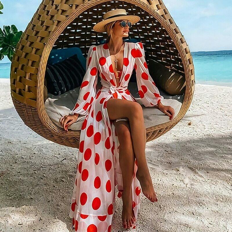 Beach Dress 2021 Bikini Cover Up Print Bathing Suit Women Kimono Plus Size Tunic Sexy Long Sleeve Swimwear Cover-Ups