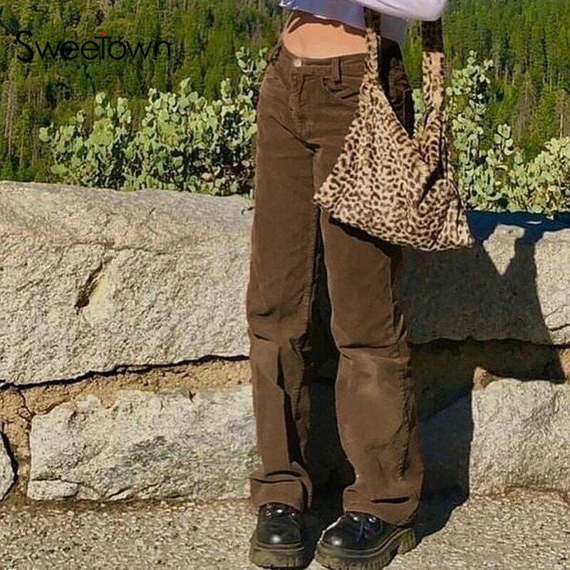 Sweetown Corduroy Y2K Joggers Women Cargo Pants 90s Streetwear Caramel Brown Low Waist E Girl Aesthetic Straight Trousers Female