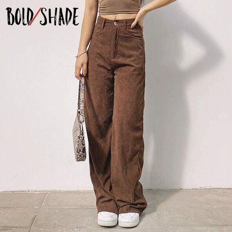 Bold Shade 90s Indie Streetwear Corduroy Pants Vintage Teenager Skater Girl Style Baggy Pants Y2K Fashion High Waist Trousers