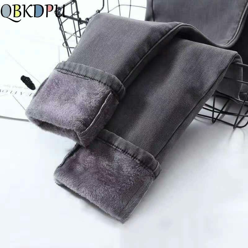 High Waist Warm Jeans For Women Blue Female Black Winter Jeans Women Denim Pants Jean Femme 2021 Ladies Trousers Warm Pants