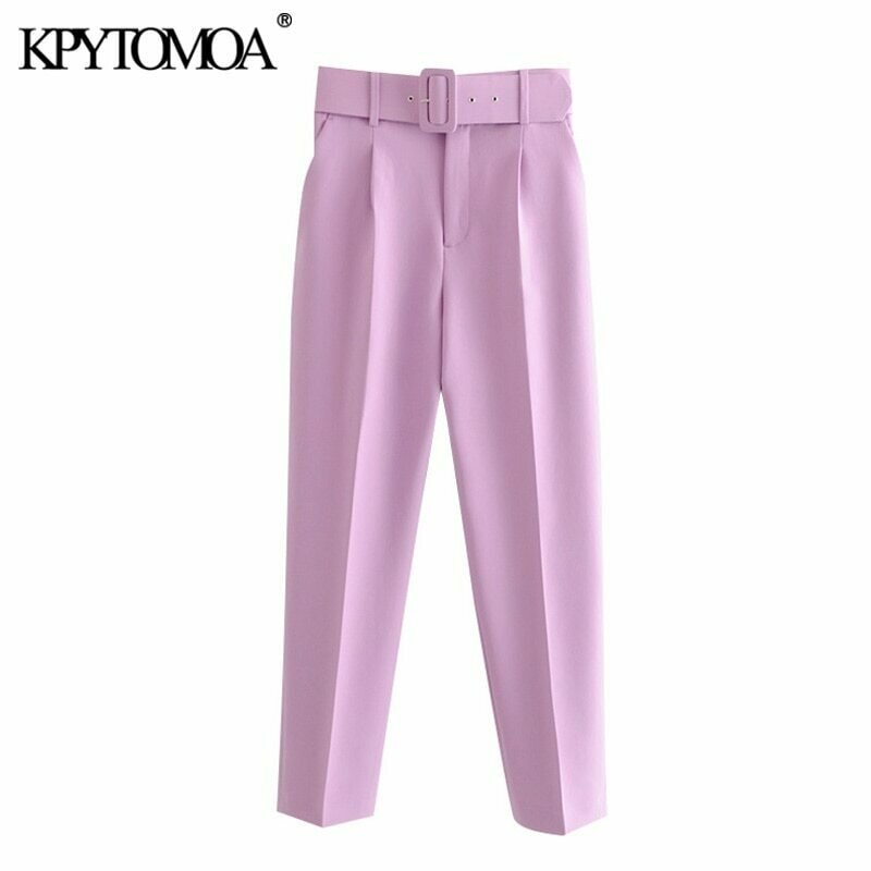 KPYTOMOA Women 2020 Chic Fashion High Waist With Belt Pants Vintage Zipper Fly Pockets Office Wear Female Ankle Trousers Mujer