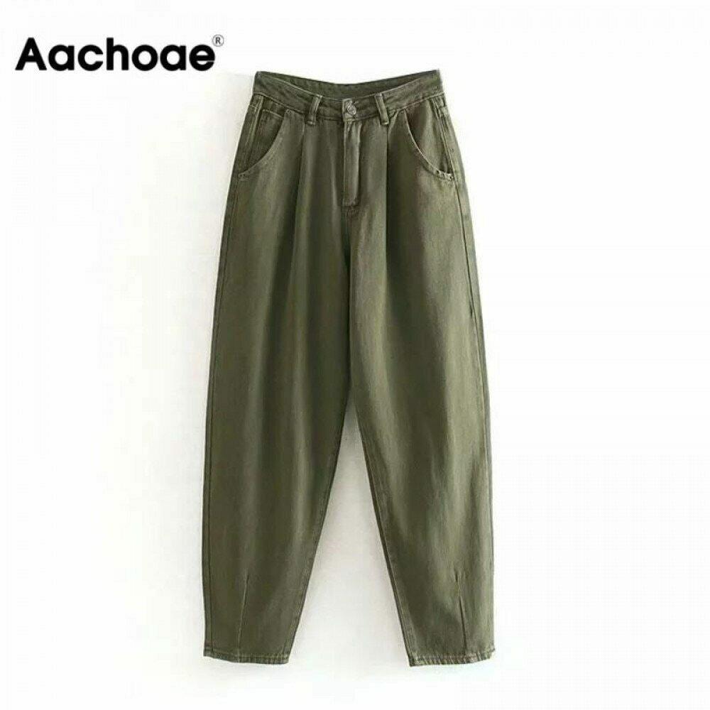 Aachoae Women Streetwear Pleated Mom Jeans High Waist Loose Slouchy Jeans Pockets Boyfriend Pants Casual Ladies Denim Trousers