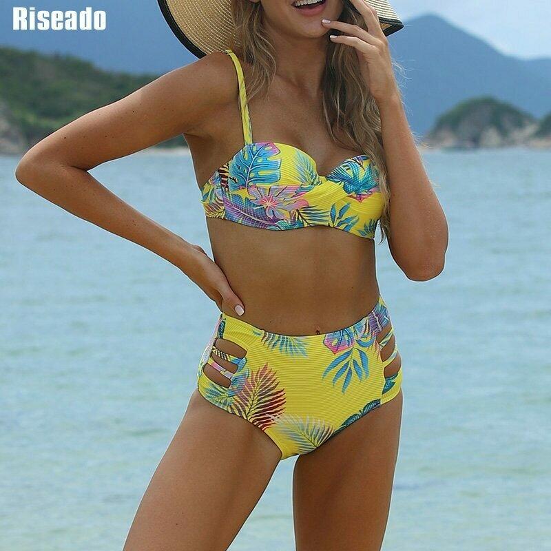 Riseado Sexy Push Up Bikinis Set Swimwear Women High Waisted Swimsuits Leaf Printed Biquini Bikini 2021 Cut Out Beach Wear