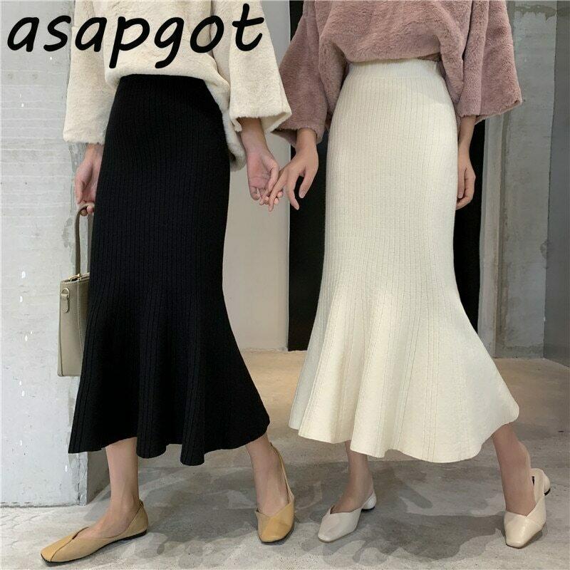 Asapgot Fall Winter Korean Chic Ruffles Slim High Waist Mermaid Skirts Women Wild Solid Wrap Hip Knitted Trumpet Skirt Faldas