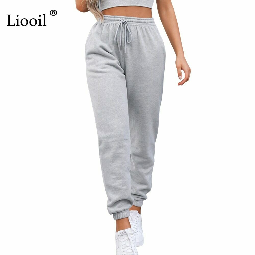 Liooil Sexy High Waist Loose Fleece Sweatpants Trousers With Pocket 2021 Fall Winter Black White Baggy Joggers Women Sweat Pants