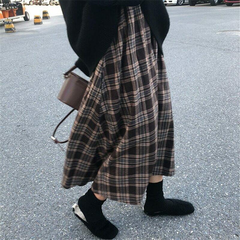 New Japanese Harajuku Autumn Winter Women Midi Skirt High Waist Plaid Female Saias Korean Ulzzang Streetwear Elegant Long Skirts