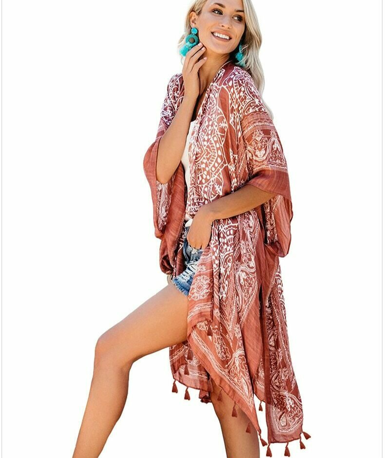 TEELYNN ethnic floral print long blouse boho beach bikini coverup women robe fringe tunic summer Cardigan swim kimono cover up