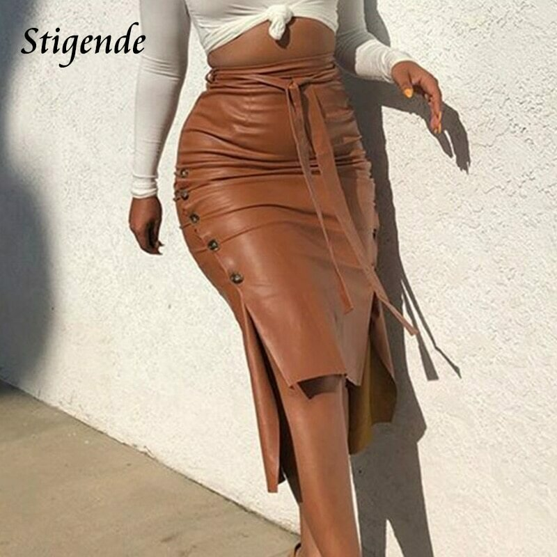 Stigende Women Sexy Bandage Pu Leather Party Skirt Fashion Solid Faux Leather Side Button Skirt Casual Bodycon Split Midi Skirt