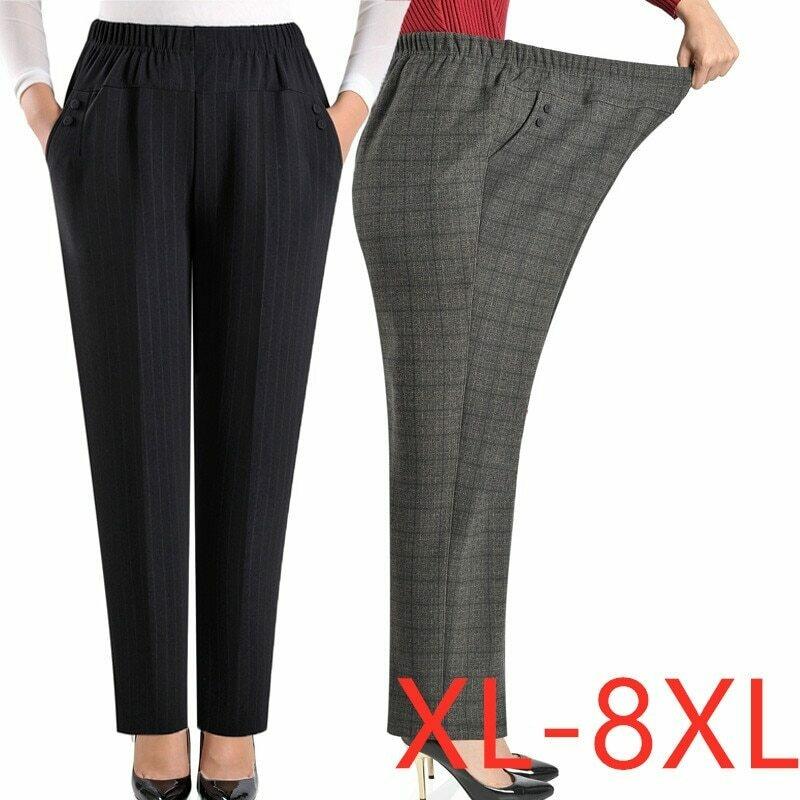 Extra Large Size Women Pants Loose High Elastic Elastic Pants Middle-aged Clothing 6XL 7XL 8XL Autumn Pants Female Trousers J400