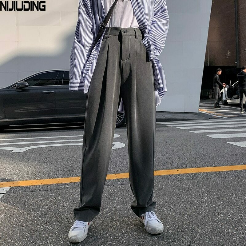 NIJIUDING Women Suit Pants Spring Office Lady Long Trousers 2020 New Autumn Solid Loose High Waist Pant Vestodo Female Pants