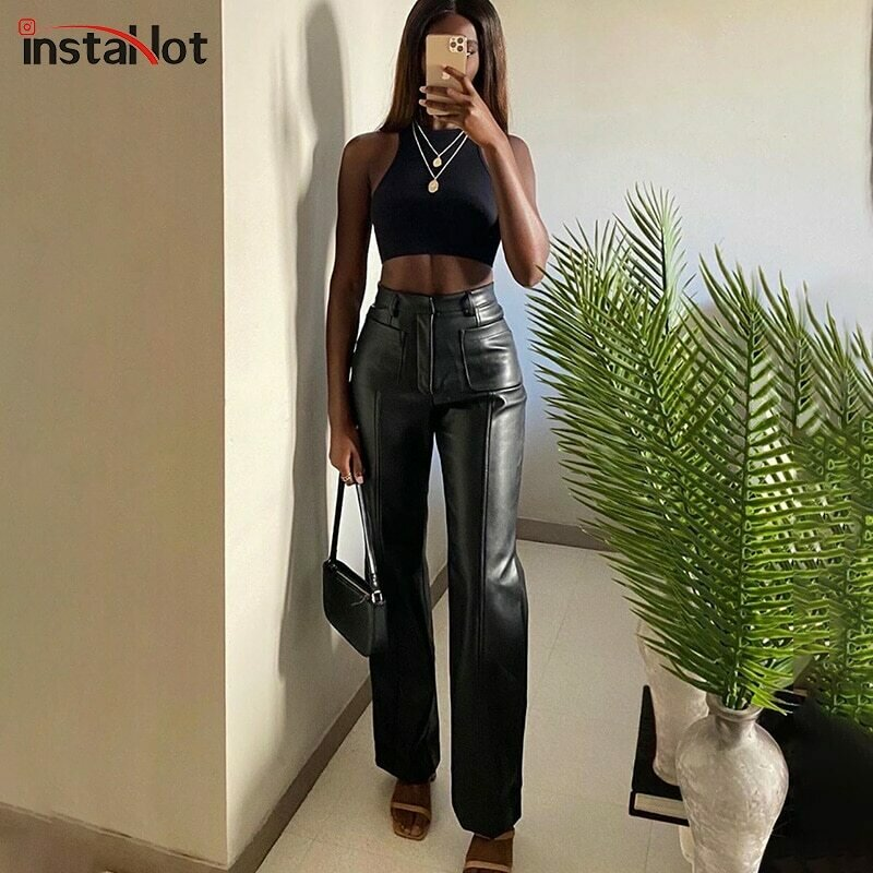 InstaHot Women Faux Leather Pant Pockets Straight Pant Trousers Autumn Elegant High Waist Office Lady Slim Vintage Leisure Pants