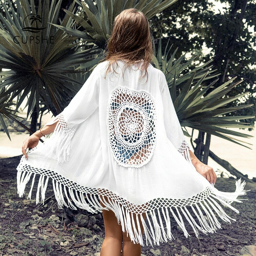 CUPSHE White Tassel Crochet Bikini Cover Up Sexy Back Cut Out Kimono Women 2021 Beach Bathing Suit Beachwear Tunic Shirt