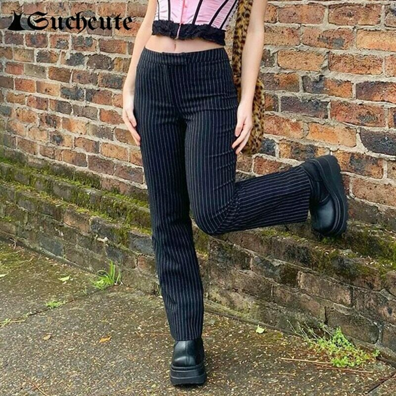 SUCHCUTE Striped Pants For Women Y2K Fashion Gothic High Waist Straight Pants Streetwear Fashion Outfits Korean Style Trouser