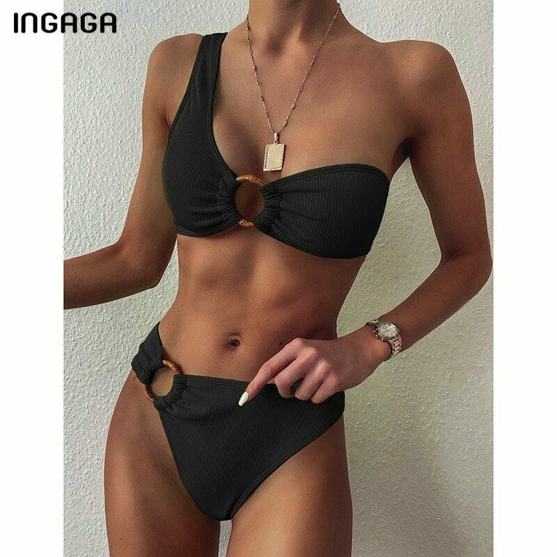 INGAGA One Shoulder Bikini Women's Swimsuit High Waist Swimwear Sexy Rings Biquini Black Ribbed Beachwear 2021 Brazilian Bikinis