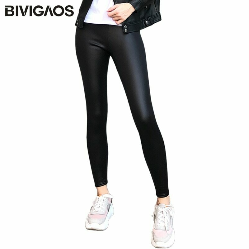 BIVIGAOS Ladies Winter Warm Thick Velvet Faux Leather Leggings Gothic Legging Pants Punk Rock Slim Skinny Pencil Pants For Women