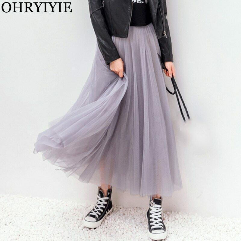 OHRYIYIE 2021 Autumn Winter Vintage Tulle Skirt Women Elastic High Waist Mesh Skirts Long Pleated Tutu Skirts Female Jupe Longue