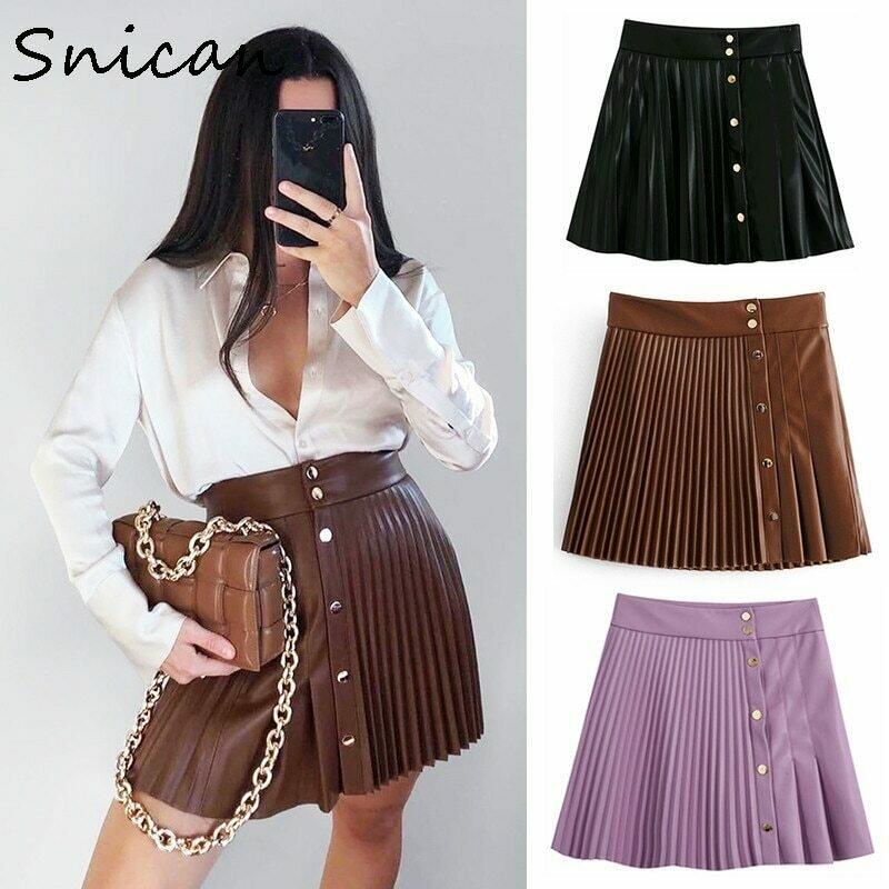 snican solid pu leather skirt high waist buttons sexy mini pleated skirt Asymmetrical fashion faldas cortas za 2020 women autumn