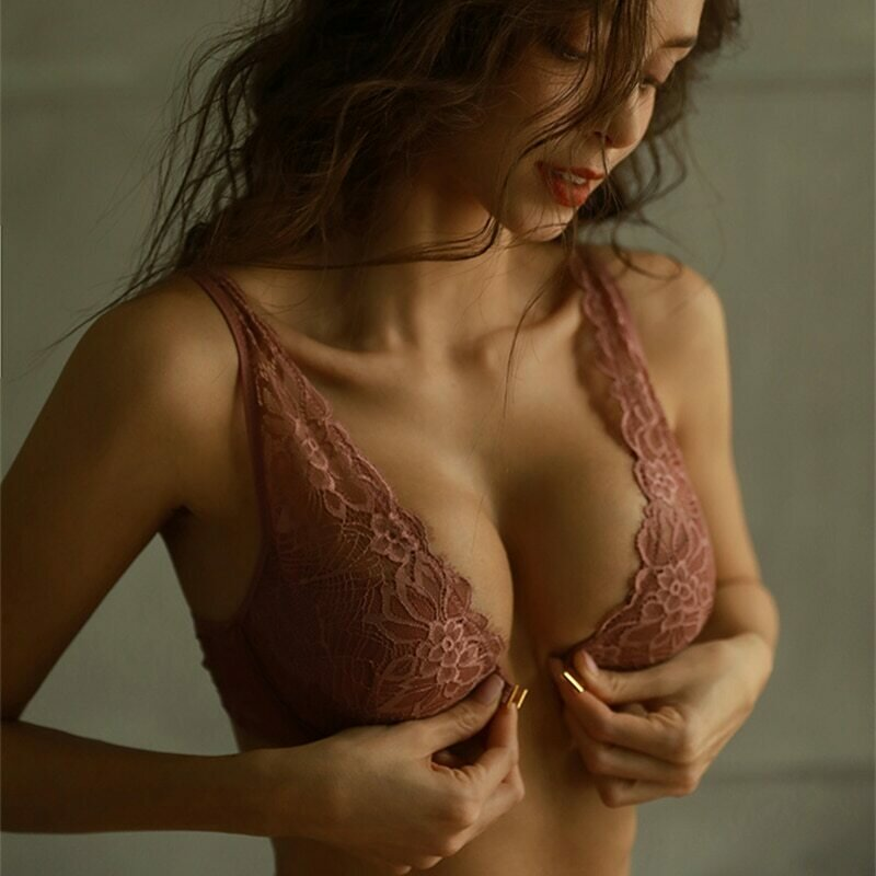 Sexy Front Closure Bra+Brief Sets small girl lingerie set Push Up Lace Bralette Underwear Brassiere intimates