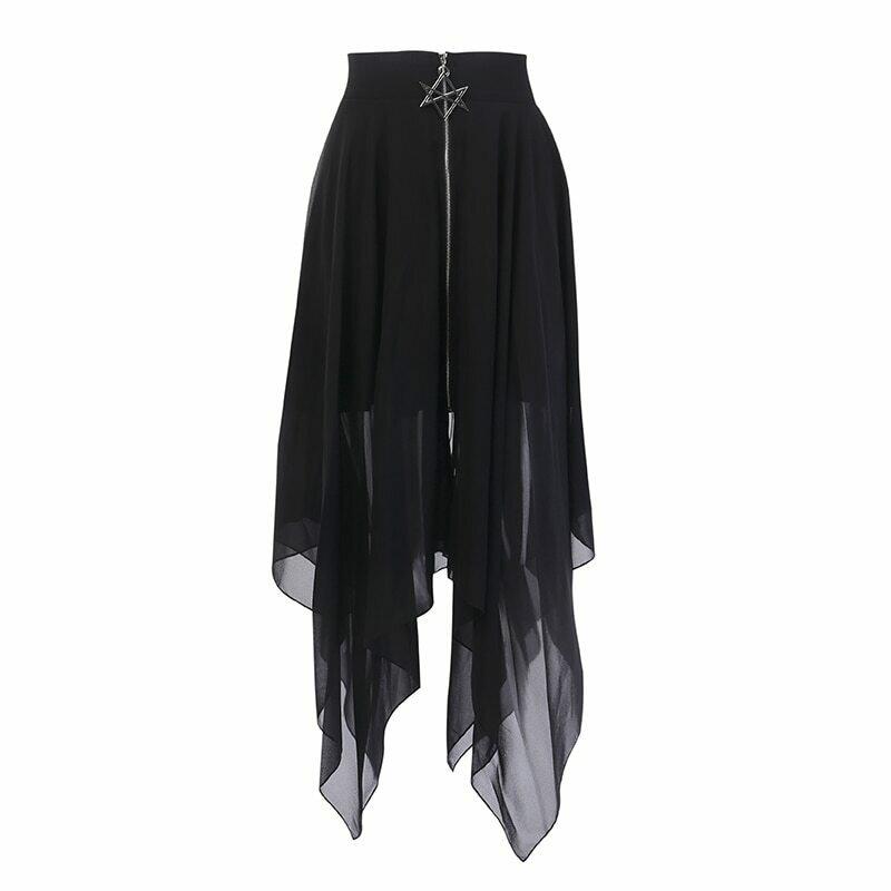 Summer Mesh Irregular Women Skirts Pentagram Zipper Black Punk Skirts Gothic Darkness Lady Skirt Casual Loose Streetwear Skirts