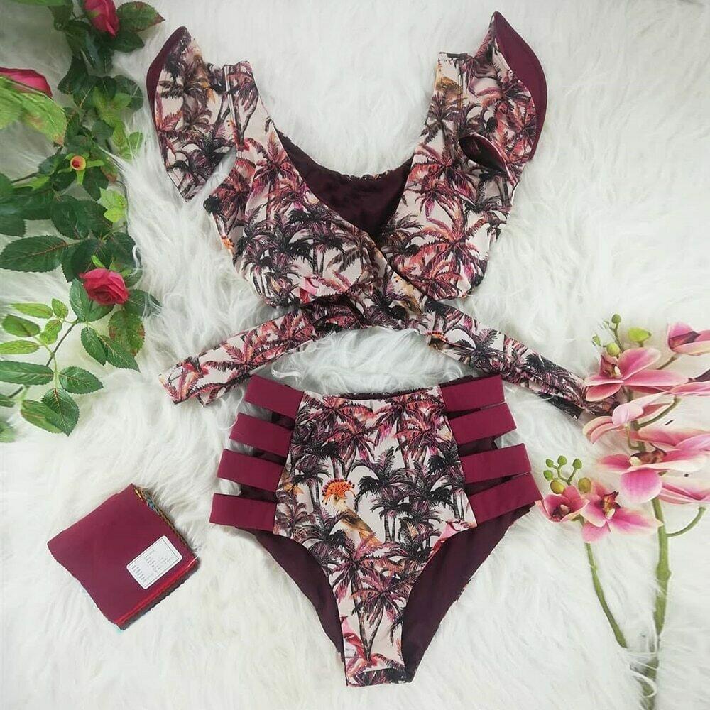 Two-Pieces Women Floral 2020 Push-Up Padded Bra Ruffles Bandage Bikini Set Swimsuit Swimwear Bathing Suit Beachwear Biquini