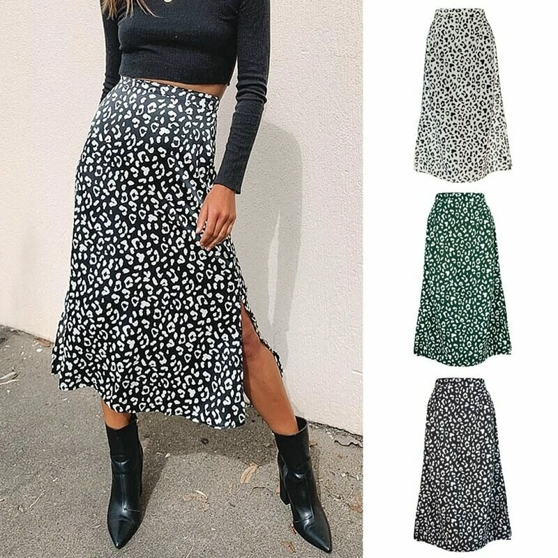 2020 Sexy Leopard Wrap Skirt Print Chiffon Split Skirt Casual Fashion Long Skirts for Women Spring Summer Clothes Zipper Elegant