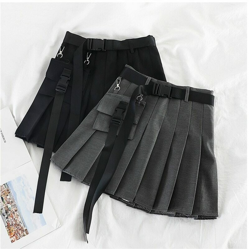 Womens Streetwear Tooling Half-length Pleated Skirt Safari Black Short Skirt Fashion High Waist Harajuku Women Skirts