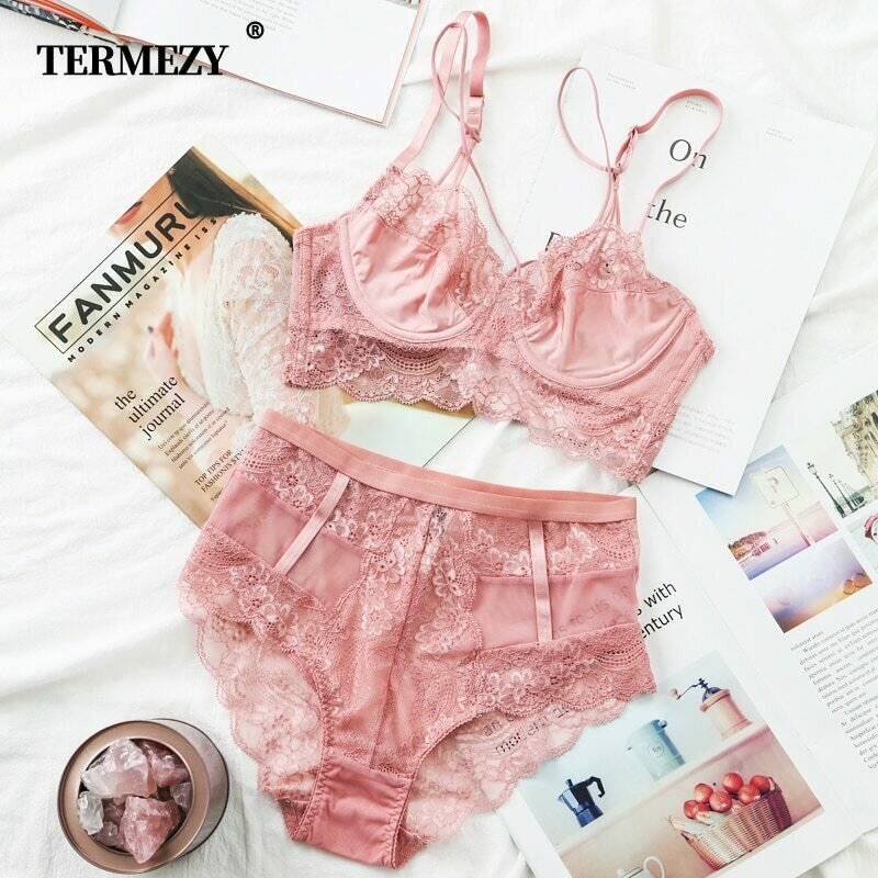 TERMEZY Classic Bandage Pink Bra Set Lingerie Push Up Brassiere Lace Underwear Set Sexy High-Waist Panties For Women underwear