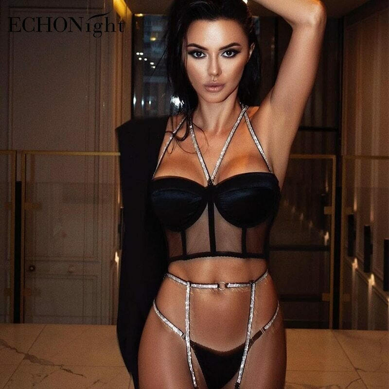 Echonight Sequin Lingerie Set Sexy Push up Women's Underwear Set Lace Bra 3 Piece Set Padded Bra and Thong Lingerie Dropshipping