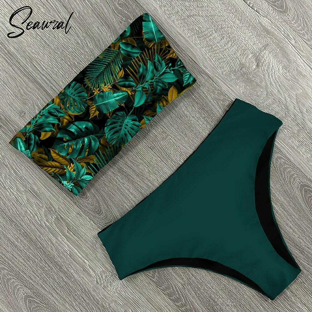 2020 New Sexy Low Hight Bikini Set Swimwear Women Bandeau Female Print Floral Strappy Swimsuit Bathing Suit Beach Wear Biquini
