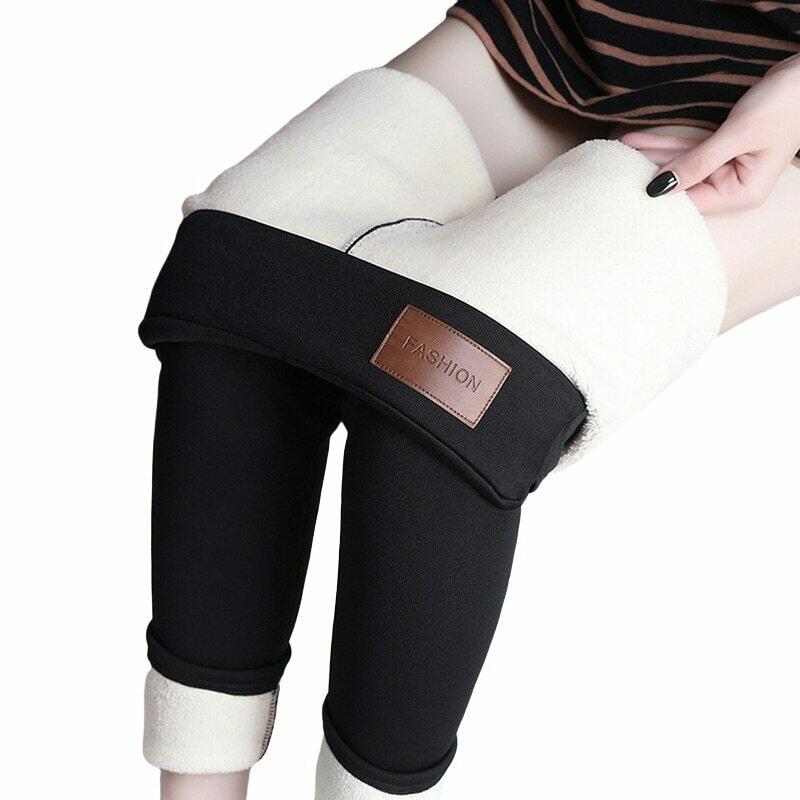 CHRLEISURE Winter Warm Leggings Women High Waist Velvet Thick Legging Patchwork Super Stretch Pencil Pant Plus Size