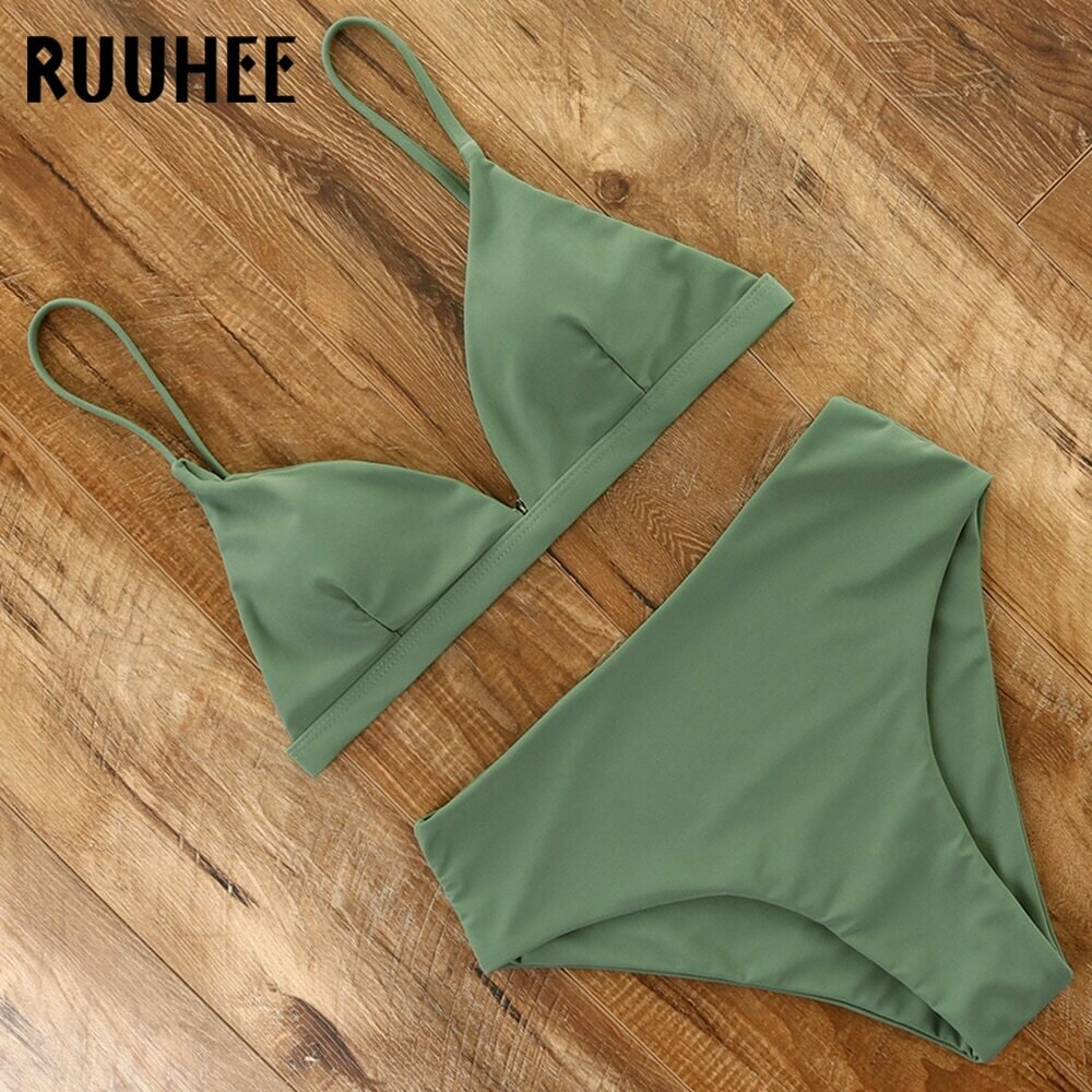 RUUHEE 2021 Bikini Swimwear Swimsuit Women Solid Bathing Suit Green Neno Bikini Set With Pad Female High Waist Beachwear Biquini