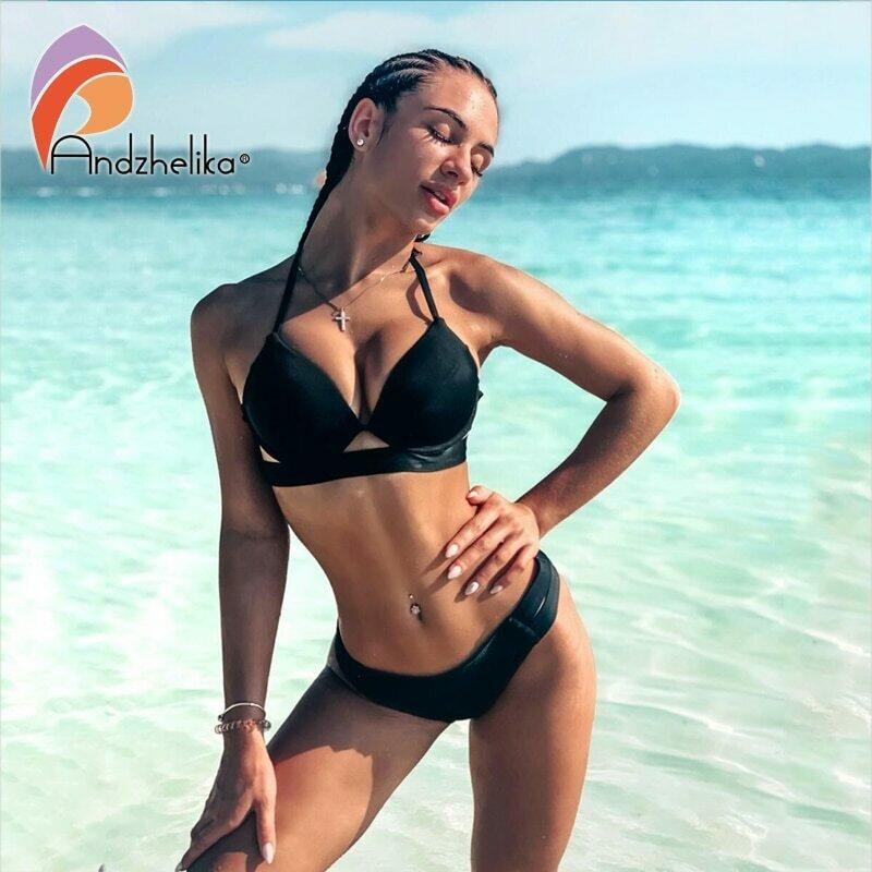Andzhelika Bikinis Women Bandage Swimsuit Bikini 2021 Sexy Push Up Swimwear Low Waist Bathing Suit Halter Bikinis Suit Swim