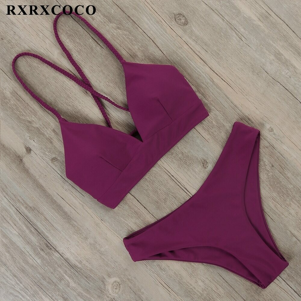 RXRXCOCO Sexy Bandage Bikini 2021 Swimsuit Swimwear Women Thong Push Up Bikinis Set women's swimming suit Biquini Bathing Suit