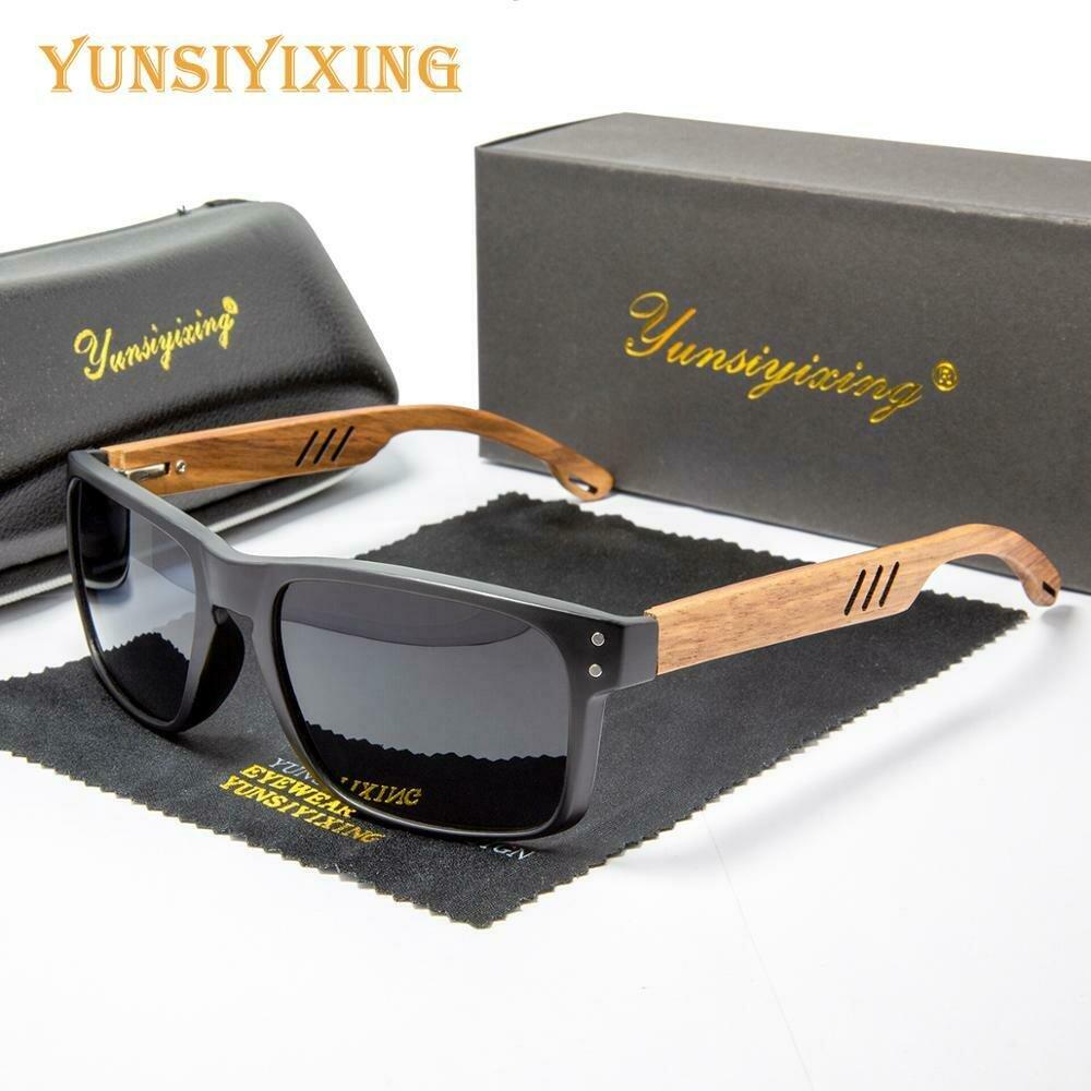 YUNSIYIXING Wooden Polarized Sunglasses Men Square Resin Sun Glasses Natural Wood UV400 Mirror Eyewear Men/Women Oculos de sol