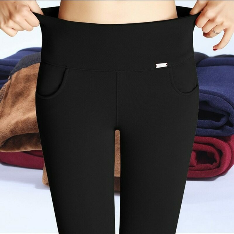 Plus Size S-XXXXL Winter Trousers For Women Warm Fleeces Pencil Pants High Waist Stretch Thickening Leggings Casual Pants P8612