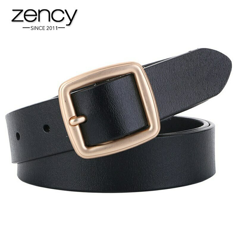 Zency Women Belts Luxury Brand 100% Genuine Leather High Quality Fashion Pin Buckle Waist Belt For Jeans Black White Brown