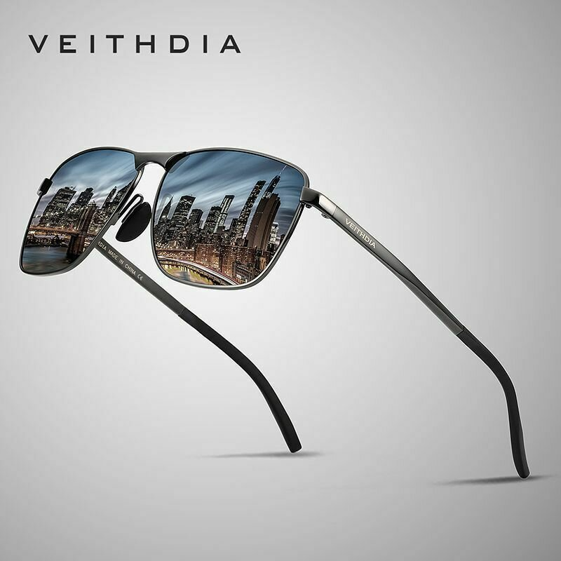 VEITHDIA Brand Men's Vintage Square Sunglasses Polarized UV400 Lens Eyewear Accessories Male Sun Glasses For Men/Women V2462