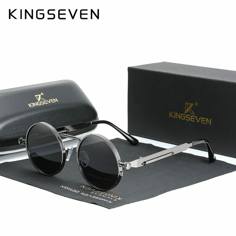 KINGSEVEN High Quality Gothic Steampunk Sunglasses Polarized Men Women Brand Designer Vintage Round Metal Frame Sun Glasses