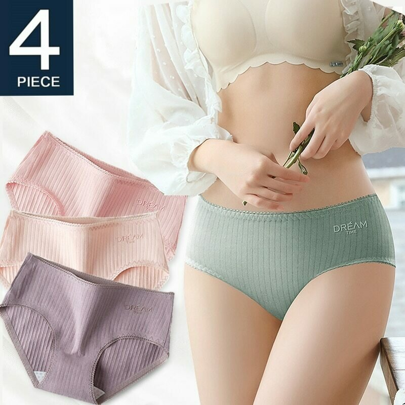 Women's Underwear Cotton Brief Panties 2020 Breathable Underpants Cute Women Underwear  Lace Girls Ladies Lingerie Sexy 4 Pieces