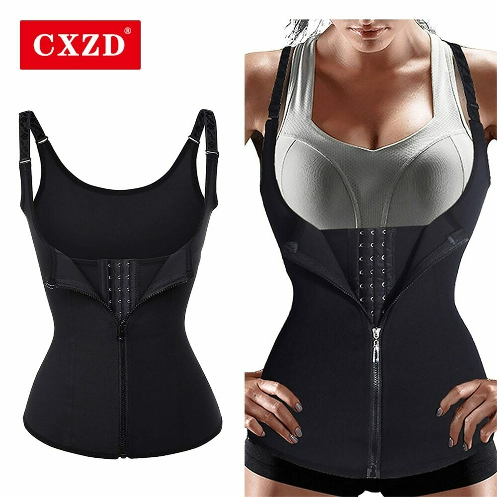 CXZD Women Waist Trainer Push Up Vest Tummy Belly Girdle Body Shaper Waist Cincher Corset Zipper Vest Plus Size S-4XL Shaperwear