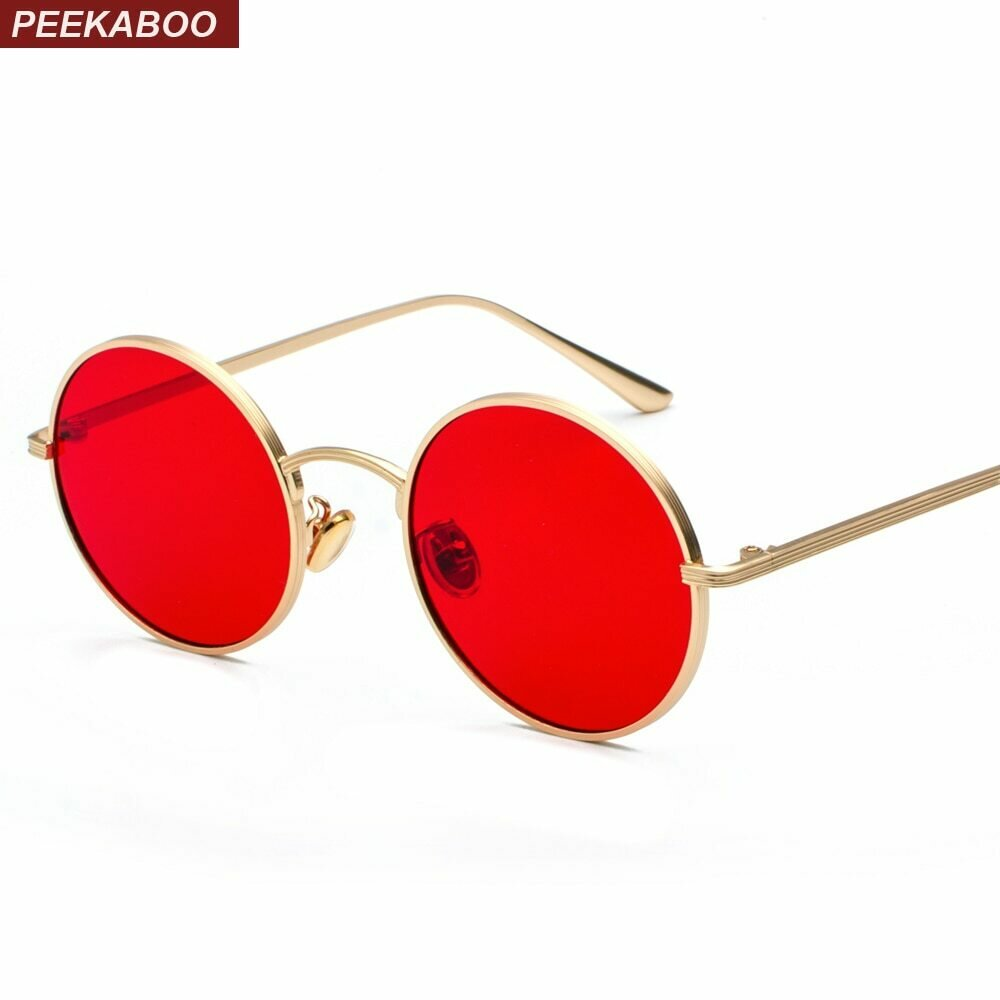 Peekaboo gold round metal frame sunglasses men retro 2018 summer style women red lens sun glasses unisex yellow pink black