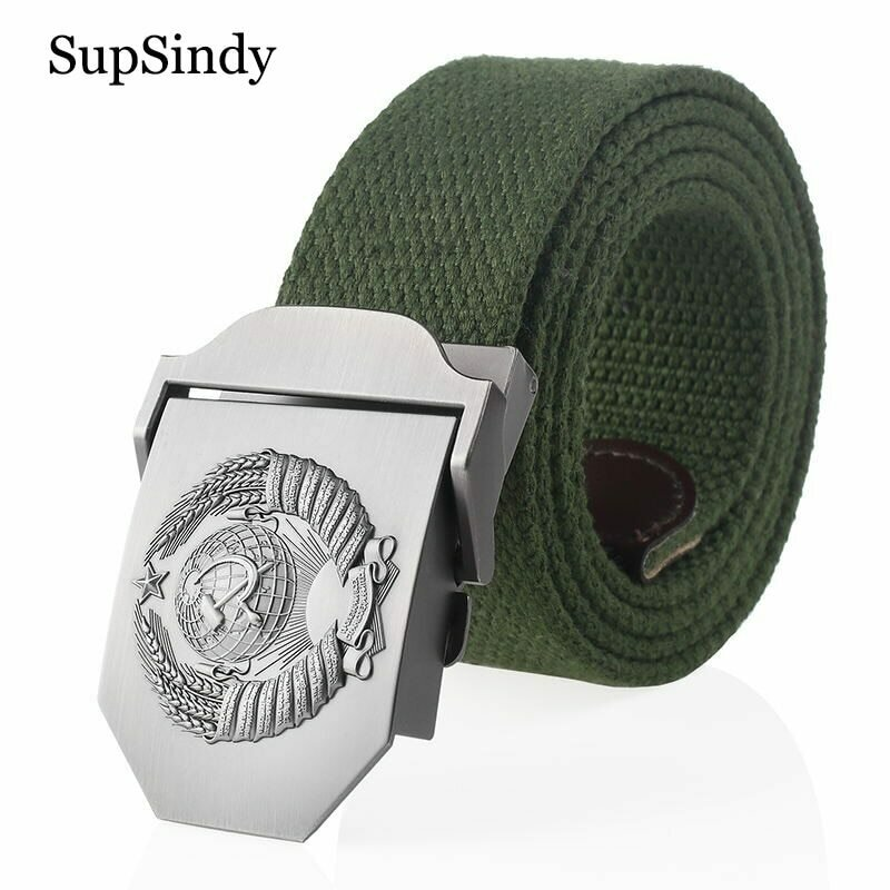 SupSindy New Canvas Belt 3D Soviet National Emblem metal buckle jeans belts for Men CCCP Army Military tactical belts male strap