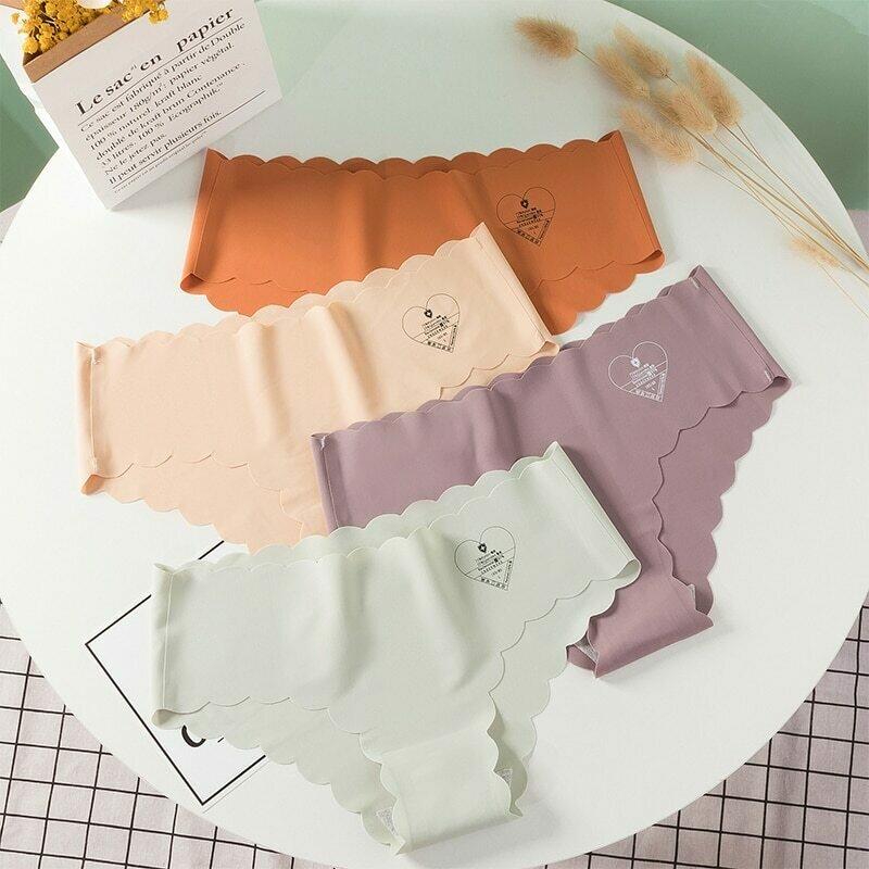 Women Seamless Panties Set Ice Silk Briefs Soft Underpants Sexy Underwear Mid Waist Pants Lingerie Panty Thong 3pcs/lot #F