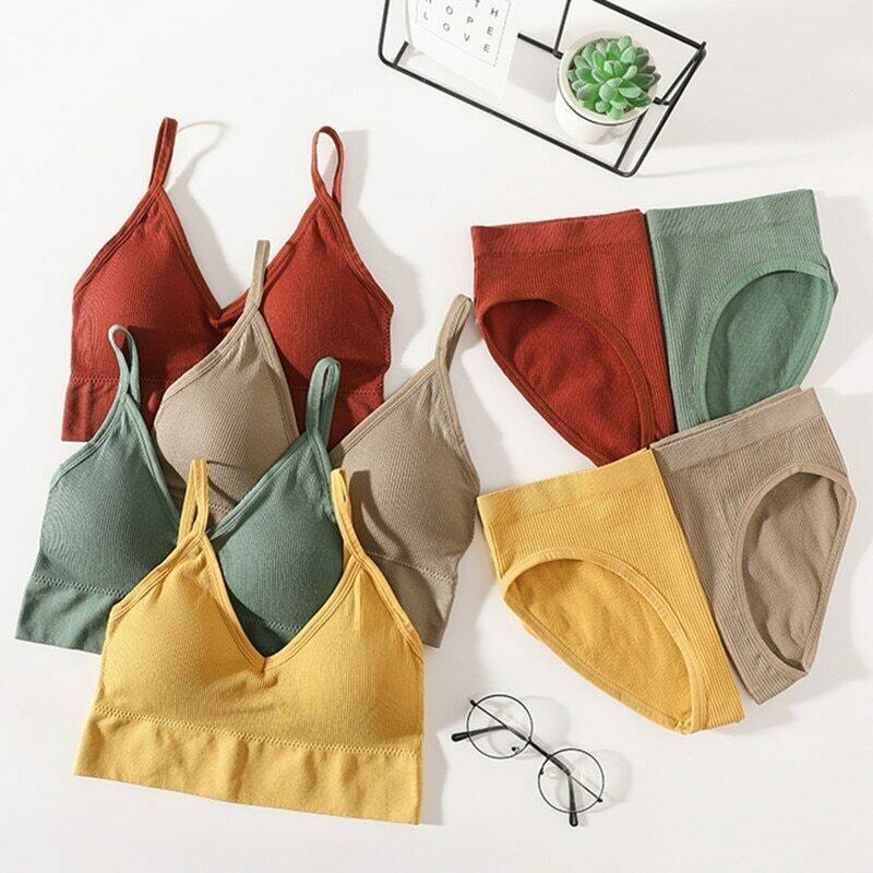 Women Bra Panties Set Push Up Bra Crop Top Sexy Lingerie Active Bra Cozy Brief Low Back Bra Sport Female Seamless Underwear Set