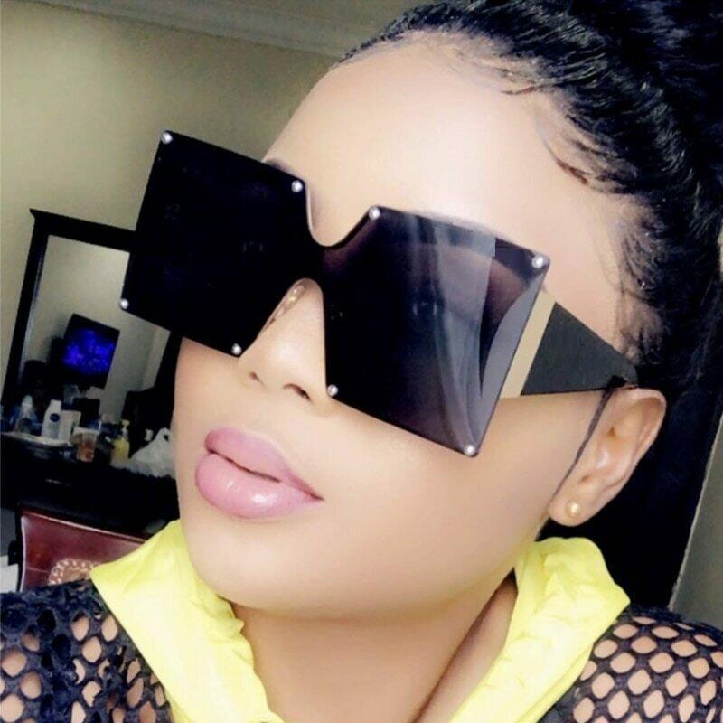 Unisex Fashion 2019 New Ladies Square Sunglasses Women Goggle Shades Vintage Brand Designer Oversized Sun Glasses For Female Men