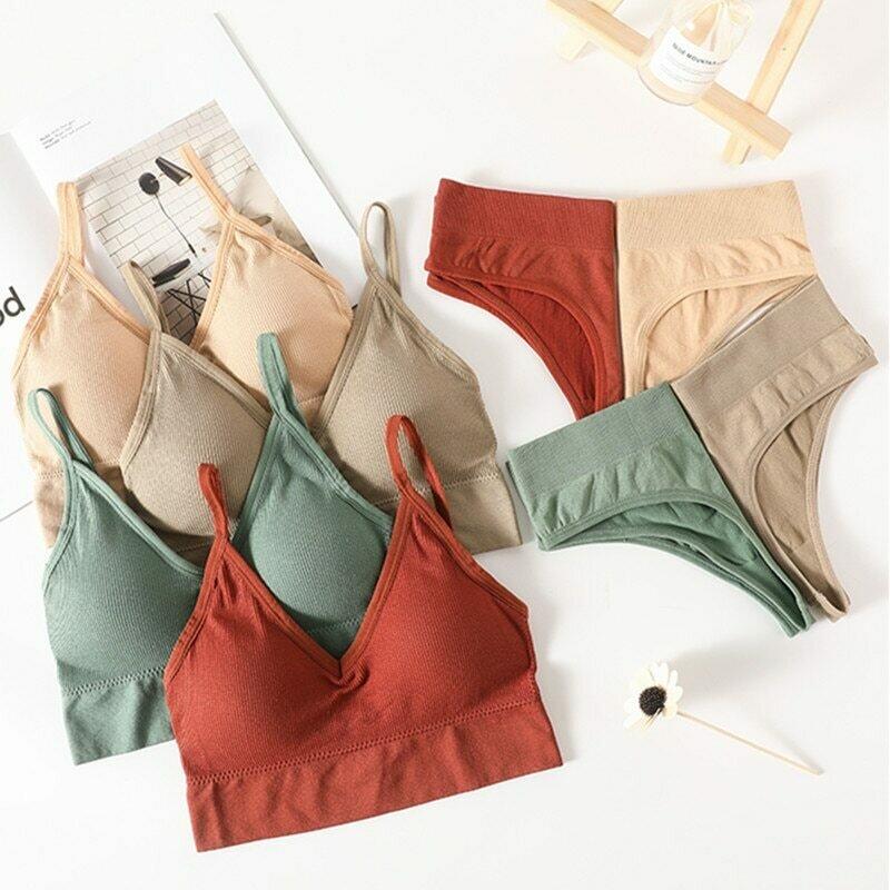 Women Bra Panties Set Push Up Sports Bra Set Sexy G-String Seamless Active Bra Thong Lingerie Set Fitness Crop Top Underwear