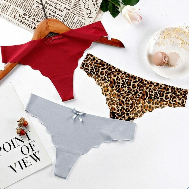 3pcs/lot Women Sexy Panties Seamless Lingerie Thongs Ice Silk G-String Panty Set Briefs Underwear Underpants Female Intimates #F