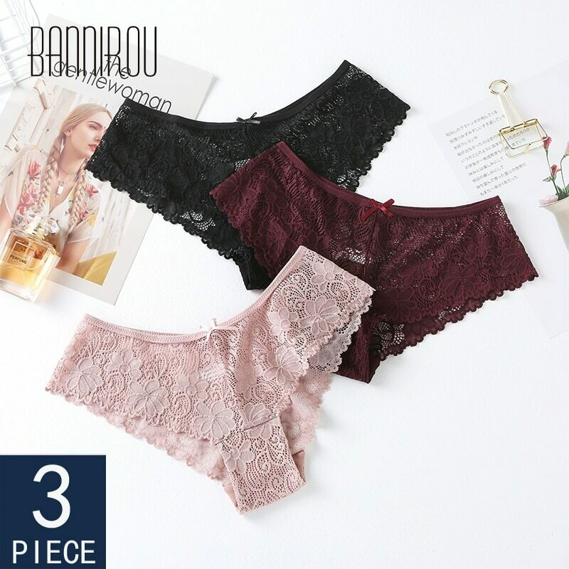 BANNIROU Lace Panties Women's Sexy Underwear Woman Bow Breathable Female Transparent Briefs New High Quality 3 Pcs Free Shipping