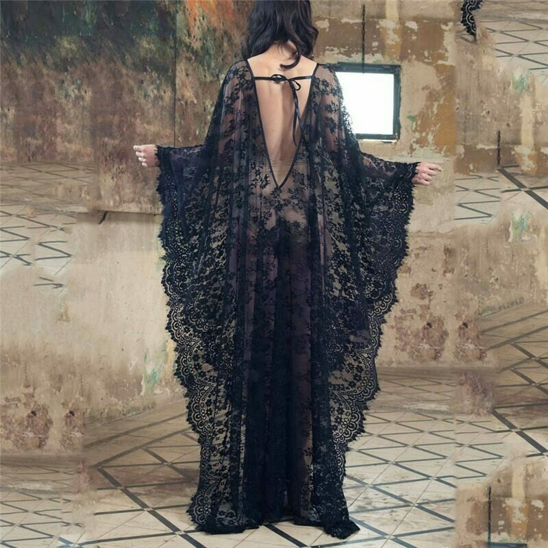 2019 New Women Lace Chiffon Kimono Beach Bikini Cover Up Wrap Beachwear Mesh Long dress